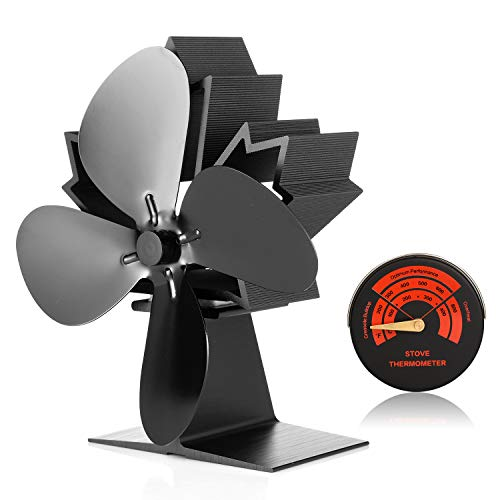 CWLAKON Wood Stove Fan-Silent Operation 4 Blades with Stove Thermometer for Wood/Log Burner/Fireplace,Eco Friendly and Efficient Heat Distribution (2018 New Designed) (Wood Stoves Accessories)
