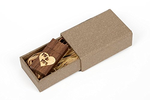 Walnut Wood USB 2.0 8GB Flash Drive – With Handmade Paperbox – Filled with Raffia Grass – Mr  Mrs Love Design