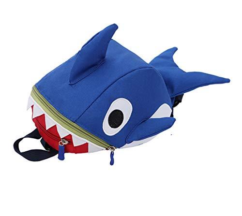 Mochila infantil con diseño de tiburón de dibujos animados, con arnés de seguridad para niños y niñas de 1 a 6 años,...