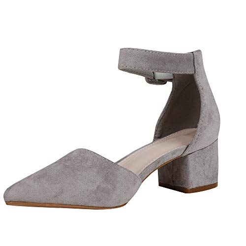 Pumps gray 1 Pointed out Block Womens Toe Heeled Ankle Sandals Cut Buckle wcH4f