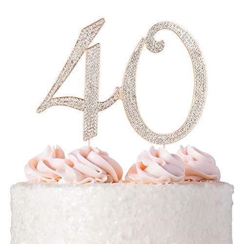 40 Cake Topper | ROSE GOLD | Birthday or Anniversary | Premium Diamond Crystal Rhinestones | Monogram Number Forty | 40th Birthday or Anniversary Party Supply Decoration Ideas | Keepsake (40 Rose) -