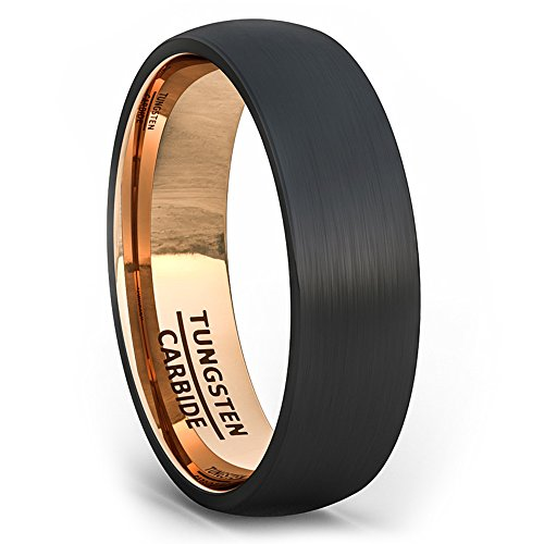 Duke Collections 6mm Black Tungsten Ring Wedding Band Brushed Dome Rose Gold Comfort Fit (10.5)