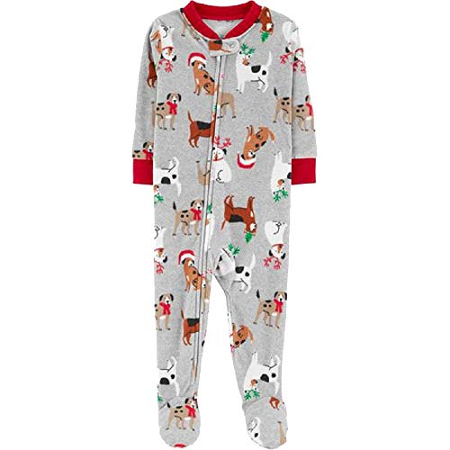 Carter's Baby Boys Holiday Dog-Print Footed Fleece Pajamas (Print, 12 Months)