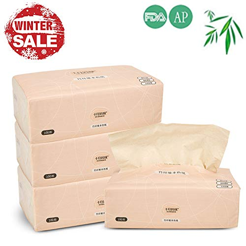 Bamboo Facial Tissues Octmami Eco-Friendly Tissues Recycled Toilet Paper Natural Tree Free Paper 100 Count 4Packs