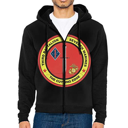 (Men's Jacket Sweatshirt 3Rd Battalion, 7Th Marines Decal Vintage Hoodies for Men Lightweight Sports Full Zip Hoodie Hooded XXL)