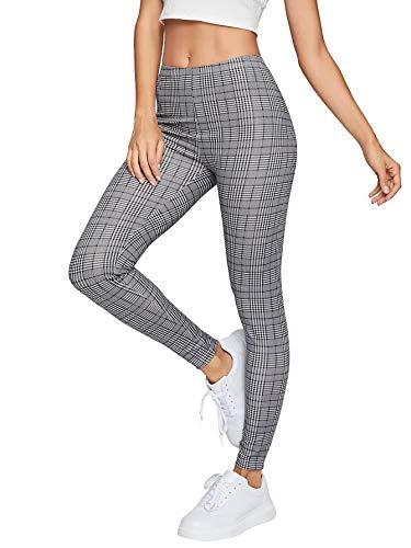 DIDK Femme Legging à Carreaux Ecossais Taille Elastique Pantalon Long Plaid Slim Casual Legging De Sport Décontracté