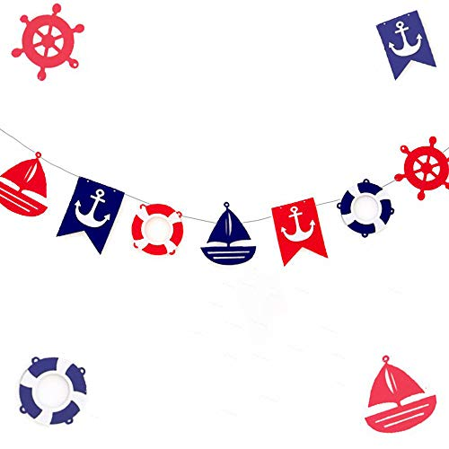 JeVenis Nautical Bunting Banner Nautical Party Decorations Navy Banners for Baby Shower Boy Birthday Party -