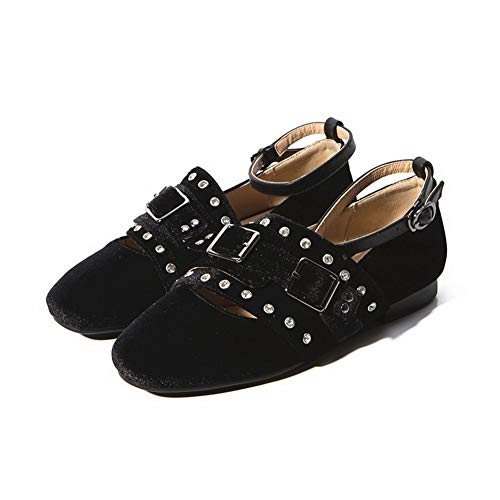 Black Nubuck Studded APL11081 Beaded BalaMasa Urethane Shoes Womens Pumps Fwqq7x6C