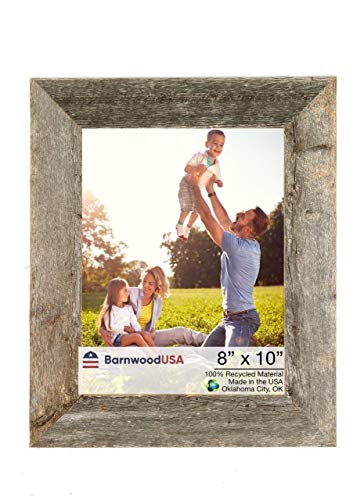 BarnwoodUSA Rustic 8x10 Inch Picture Frame 1 1/2 Inch Wide - 100% Reclaimed Wood, Weathered Gray