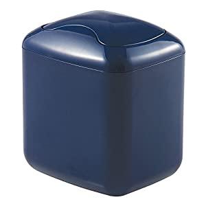 mdesign wastebasket trash can for bathroom vanity countertops navy home kitchen