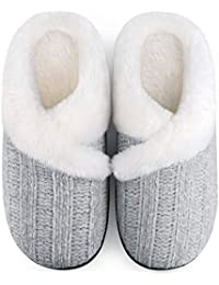 Women's Cozy Memory Foam Chenille Slippers with Memory Foam, Ladies'Fuzzy Fleece Lining Slip on House Slipper Shoes with Anti-Skid Rubber Sole Indoor Outdoor Shoes