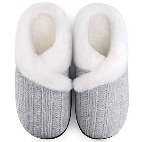 Homitem Women's Cozy Memory Foam Chenille Slippers with Memory Foam, Ladies'Fuzzy Fleece Lining Slip on House Slipper…