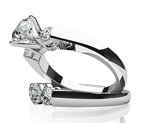 Or blanc 14K Triple de mariage Diamant
