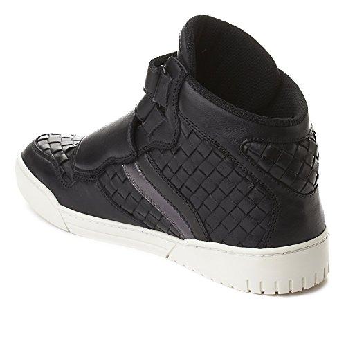 Bottega Veneta Heren Intrecciato Lederen Schoenen Met Hoge Top Sneaker Zwart