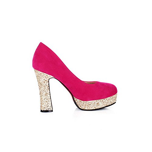 VogueZone009 Womens Closed Round Toe High Heel Platform PU Frosted Solid Pumps with Sequin, Red, 3.5 UK