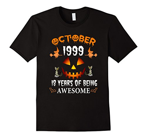 Mens October 1999 - 18th Birthday Funny Halloween Tshirt XL Black