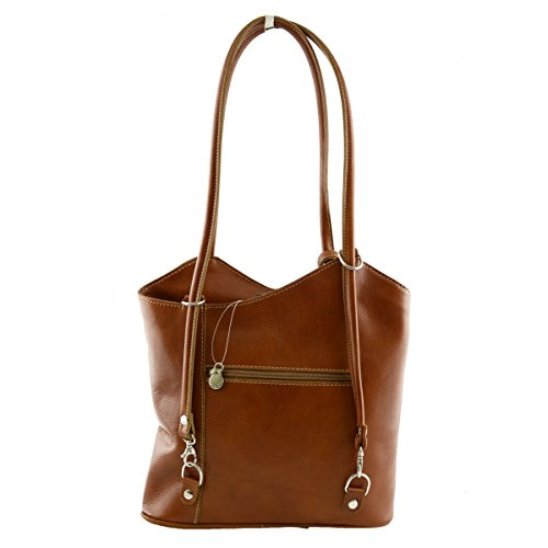 Borsa A Spalla In Vera Pelle Colore Cognac - Pelletteria Toscana Made In Italy - Borsa Donna