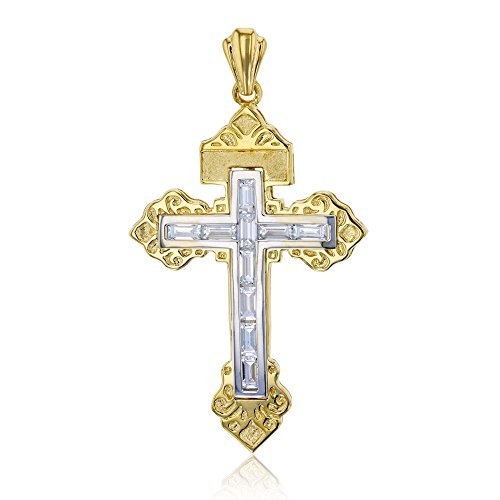 (Decadence 14K Yellow & White Gold 55x30MM Baguette Cross Pendant)