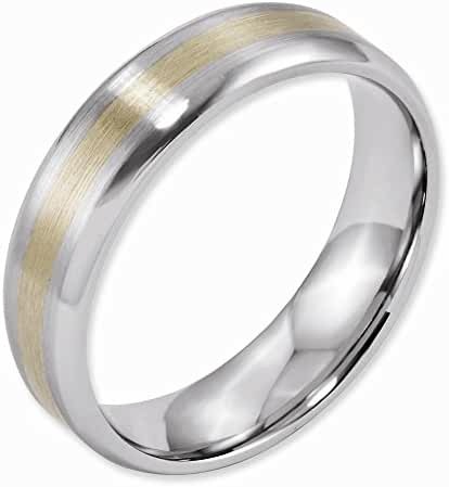 Jewelry Best Seller Cobalt 14k Gold Inlay Satin and Polished 6mm Band