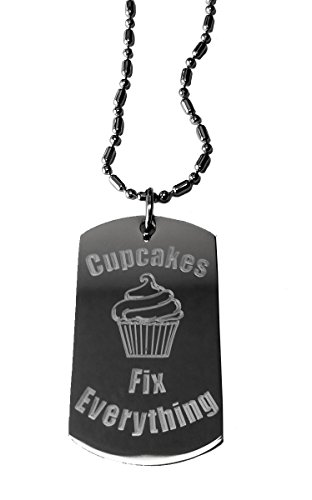Cupcakes Fix Everything - Luggage Metal Chain Necklace Military Dog Tag]()
