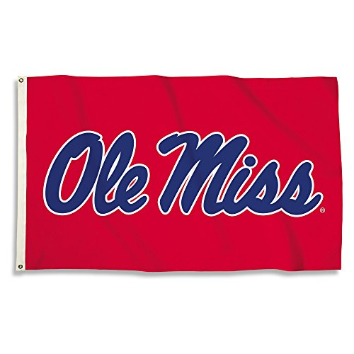 NCAA Mississippi Old Miss Rebels 3 X 5 Foot Flag with Grommets, Red, ()