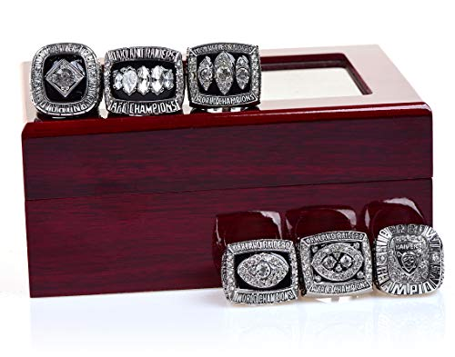 (MT-Sports Oakland Raiders Sliver Championship Rings Full Set Replica Gift Collection Size 11 with Display Case )