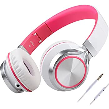 BienSound HW50 Stereo Folding Headsets Strong Low Bass Headphones with Microphone for iPhone, All Android Smartphones, PC, Laptop, Mp3/mp4, Tablet Macbook Earphones (white/pink)