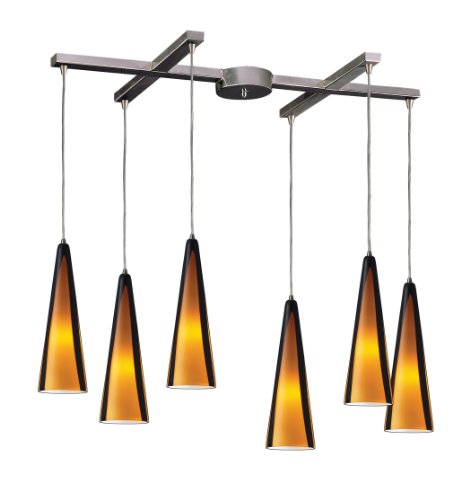 Elk 545-6SAH 6-Light Pendant In Satin Nickel and Sahara Glass