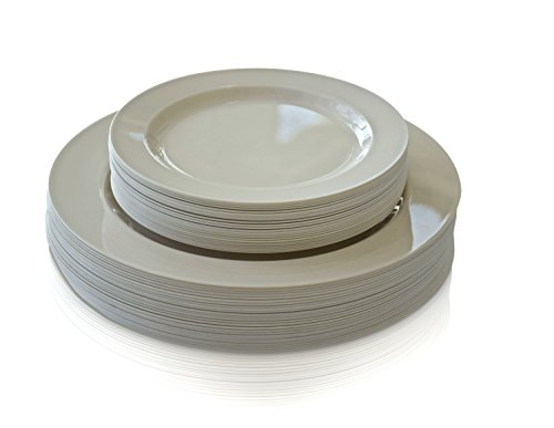 OCCASIONS Wedding Plastic Plates - Disposable Dinnerware for 25 guests - (50 piece set (25 guests), Plain Ivory)