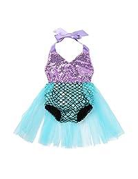 dPois Infant Baby Girls One-Piece Swimsuit Sequined Princess Mermaid Swimwear Halter Fish Scales Romper Fancy Tutu Dress