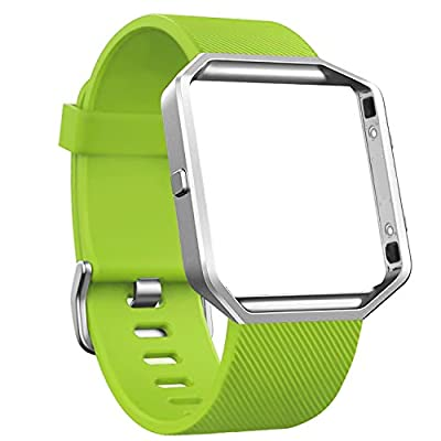 Fitbit Blaze Bands, SKYLET Silicone Replacement Strap with Steel Frame for Fitbit Blaze Soft Bracelet (No Tracker)