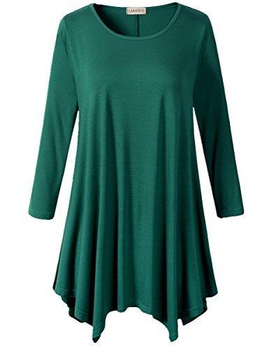 Lanmo Women Plus Size 3/4 Sleeve Tunic Tops Loose Basic Shirt (3X, Deep -