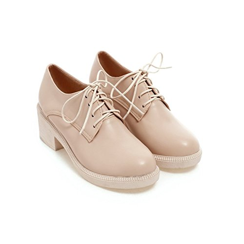 VogueZone009 Women's Lace-up Round Closed Toe Kitten-Heels PU Solid Pumps-Shoes Beige YR3Y5iTz