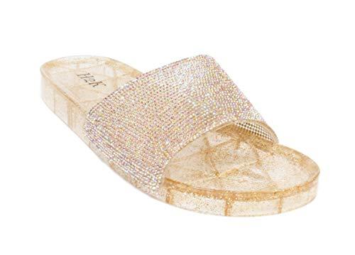 Bling Chunk - H2K Women's Crystal with Rhinestone Bling Glitter Open Toe Slide Sandal Flat Jelly Shoes Sunny (5 B(M) US, Rose Gold II)