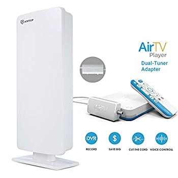 Image of ANTOP HDTV & FM Amplified Antenna 80 Miles Reception with Dual Outputs Smart Boost System, Support TV and Second Device-FM Stereo, a Second TV or Any OTA-Ready Streaming Device or Projector TV Antennas