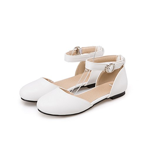 Urethane Buckle Pumps Round White Wrap Womens Toe Ankle Shoes AdeeSu HPCYwqx