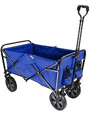 LIVINGbasics Collapsible Folding Wagon Beach Outdoor Wagon Utility Garden Shopping Cart, Blue