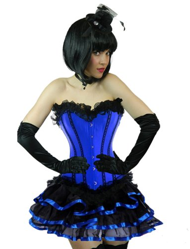 [Yummy Bee Womens Burlesque Corset + Frilly Tutu Skirt Costume Size 4 - 6 Blue Short Rib] (Pink Moulin Rouge Costumes)