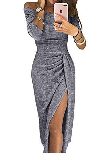 (Douremifa Womens Casual Formal Off Shoulder High Slit Party Cute Midi Dress Prom Gown Cocktail Club Bodycon Glitter Slit Pencil Dress Sexy XL)
