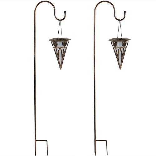 Sunnydaze Decorative Cone Outdoor Hanging Solar Light With Shepherd Hook - Set of Two (Post Lantern Set Outdoor)