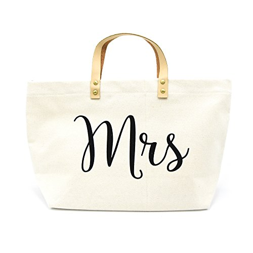 PumPumpz Personalized Gifts Wedding ''Mrs'' Canvas Tote Bag With Gold Box Package. (Black Mrs.) by PumPumpz