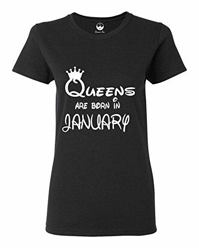 Oceans Tee Queens Are Born in January Girft Birthday Women Men Tee Women Regular T Shirt OT725025 Black Small