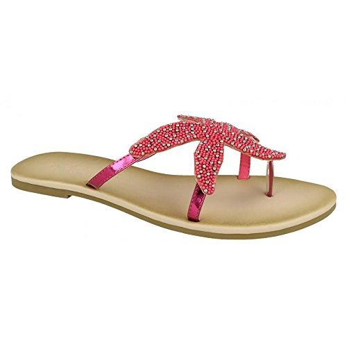 Savannah Sandalias de Dedo con Diseño de Estrella de Mar Para Mujer Fucsia