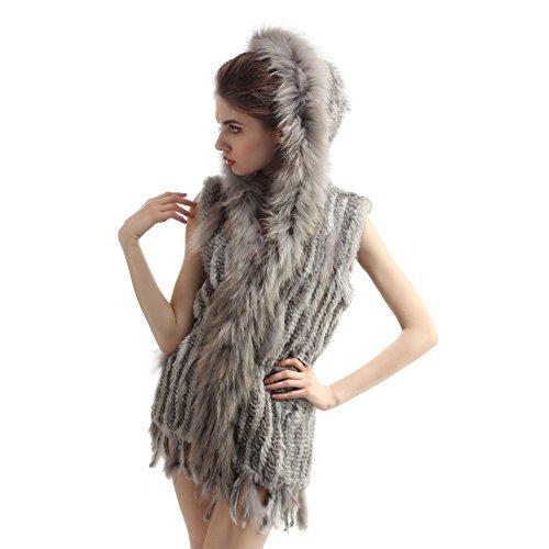 Abrigo tejido y lujoso de la piel de conejo con gorro Gris