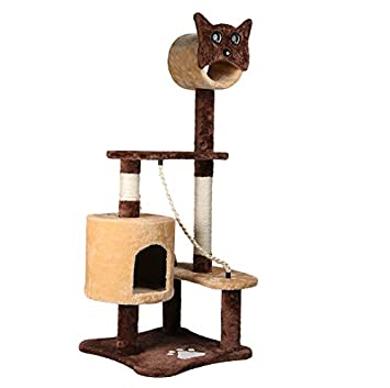 Mediana gato Rascador para gatos Árbol Escalada algodón Plataforma Cat Head bambú stümpfe Cat habitaciones Sisal columnas: Amazon.es: Productos para ...
