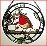 Decorative Hand Painted Glass Window Roundel in a Fat Robin Design.
