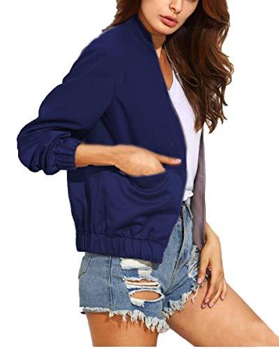 Corto Abrigos con Chaqueta Outwear Cuello Blau Invierno Outerwear Casual Larga Mujer Cómodo Cremallera BoBoLily Manga Stand Estilo Unicolor Especial 7xqPRX14