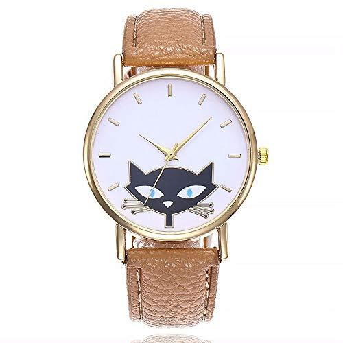 ZXMBIAO Reloj De Pulsera Moda Encantadora Gato Reloj Mujer Correa De Cuero Relojes De Cuarzo: Amazon.es: Relojes