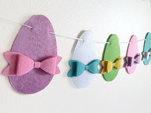 Easter Egg Garland Decoration, Easter Felt Banner, Handmade Bunting for Spring, Easter Decoration & Photo Prop by MagiCuts
