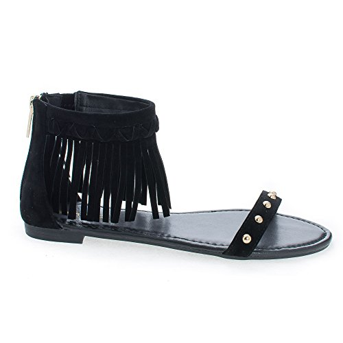 Studded Ankle Cuff (Candice53M Black Moccasin Open Toe Studded Ankle Fringe Cuff Flat Sandals-8)